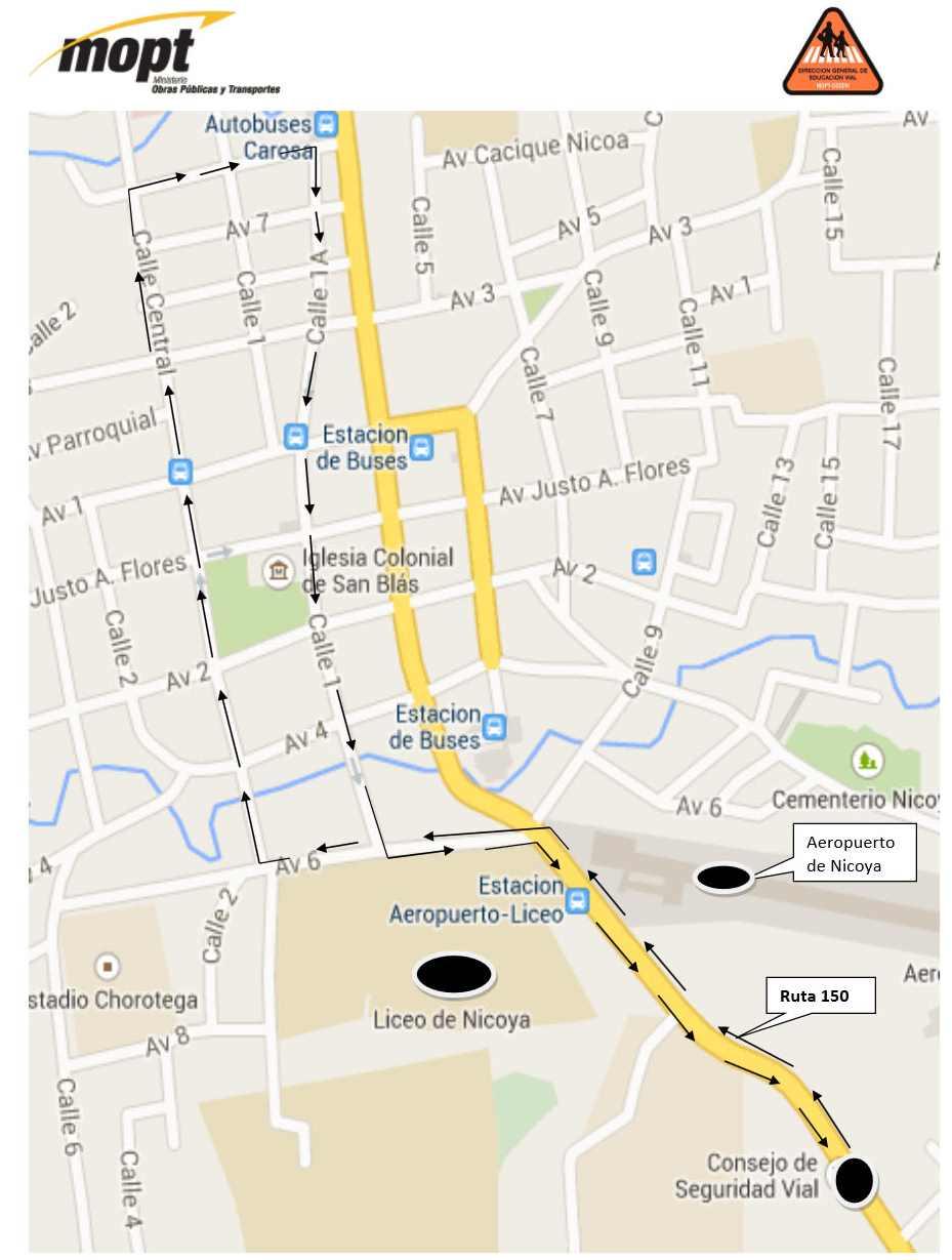Ruta Prueba Practica de Manejo en Nicoya para Vehiculos PESADOS
